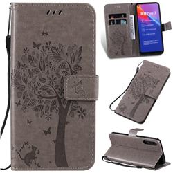 Embossing Butterfly Tree Leather Wallet Case for Huawei Honor Play 3 - Grey