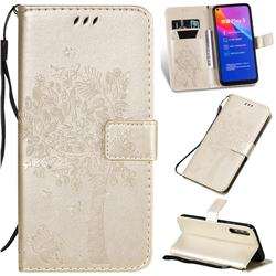 Embossing Butterfly Tree Leather Wallet Case for Huawei Honor Play 3 - Champagne