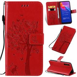 Embossing Butterfly Tree Leather Wallet Case for Huawei Honor Play 3 - Red