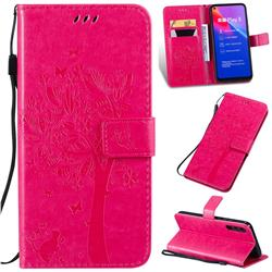 Embossing Butterfly Tree Leather Wallet Case for Huawei Honor Play 3 - Rose