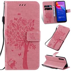 Embossing Butterfly Tree Leather Wallet Case for Huawei Honor Play 3 - Pink