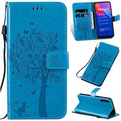 Embossing Butterfly Tree Leather Wallet Case for Huawei Honor Play 3 - Blue