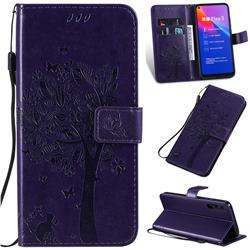 Embossing Butterfly Tree Leather Wallet Case for Huawei Honor Play 3 - Purple