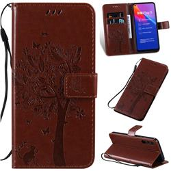 Embossing Butterfly Tree Leather Wallet Case for Huawei Honor Play 3 - Coffee