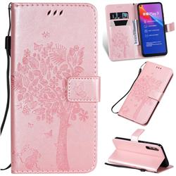 Embossing Butterfly Tree Leather Wallet Case for Huawei Honor Play 3 - Rose Pink