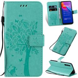 Embossing Butterfly Tree Leather Wallet Case for Huawei Honor Play 3 - Cyan