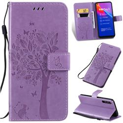 Embossing Butterfly Tree Leather Wallet Case for Huawei Honor Play 3 - Violet