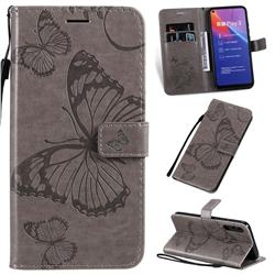 Embossing 3D Butterfly Leather Wallet Case for Huawei Honor Play 3 - Gray