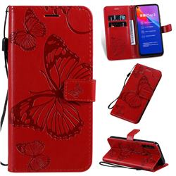 Embossing 3D Butterfly Leather Wallet Case for Huawei Honor Play 3 - Red