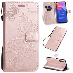 Embossing 3D Butterfly Leather Wallet Case for Huawei Honor Play 3 - Rose Gold