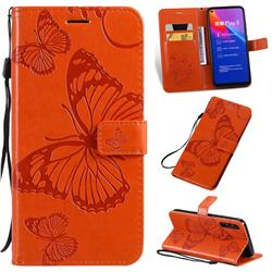 Embossing 3D Butterfly Leather Wallet Case for Huawei Honor Play 3 - Orange