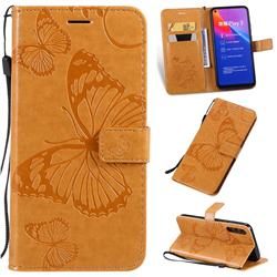Embossing 3D Butterfly Leather Wallet Case for Huawei Honor Play 3 - Yellow