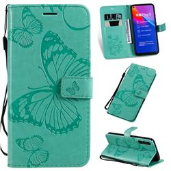 Embossing 3D Butterfly Leather Wallet Case for Huawei Honor Play 3 - Green