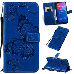 Embossing 3D Butterfly Leather Wallet Case for Huawei Honor Play 3 - Blue