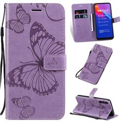 Embossing 3D Butterfly Leather Wallet Case for Huawei Honor Play 3 - Purple
