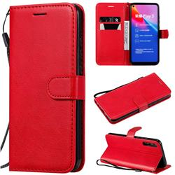 Retro Greek Classic Smooth PU Leather Wallet Phone Case for Huawei Honor Play 3 - Red