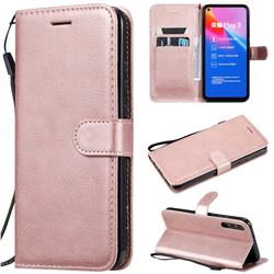 Retro Greek Classic Smooth PU Leather Wallet Phone Case for Huawei Honor Play 3 - Rose Gold