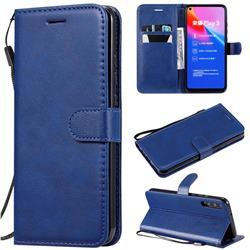 Retro Greek Classic Smooth PU Leather Wallet Phone Case for Huawei Honor Play 3 - Blue