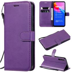 Retro Greek Classic Smooth PU Leather Wallet Phone Case for Huawei Honor Play 3 - Purple
