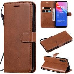 Retro Greek Classic Smooth PU Leather Wallet Phone Case for Huawei Honor Play 3 - Brown