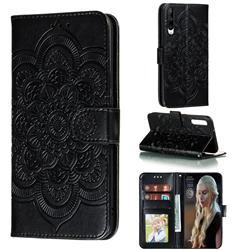 Intricate Embossing Datura Solar Leather Wallet Case for Huawei Honor Play 3 - Black
