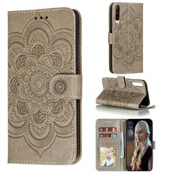 Intricate Embossing Datura Solar Leather Wallet Case for Huawei Honor Play 3 - Gray