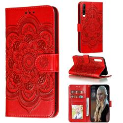 Intricate Embossing Datura Solar Leather Wallet Case for Huawei Honor Play 3 - Red