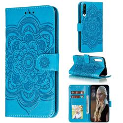 Intricate Embossing Datura Solar Leather Wallet Case for Huawei Honor Play 3 - Blue