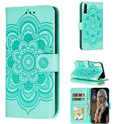 Intricate Embossing Datura Solar Leather Wallet Case for Huawei Honor Play 3 - Green