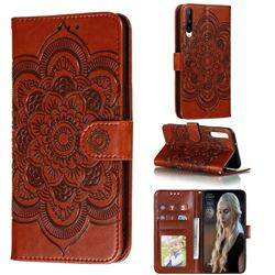Intricate Embossing Datura Solar Leather Wallet Case for Huawei Honor Play 3 - Brown