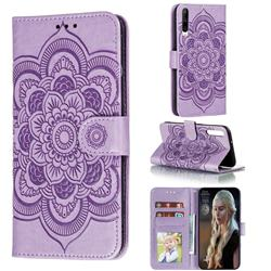 Intricate Embossing Datura Solar Leather Wallet Case for Huawei Honor Play 3 - Purple