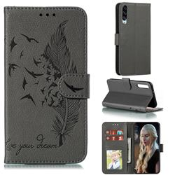 Intricate Embossing Lychee Feather Bird Leather Wallet Case for Huawei Honor Play 3 - Gray