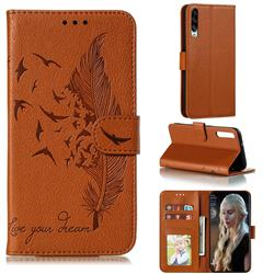 Intricate Embossing Lychee Feather Bird Leather Wallet Case for Huawei Honor Play 3 - Brown