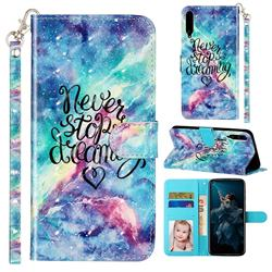 Blue Starry Sky 3D Leather Phone Holster Wallet Case for Huawei Honor Play 3