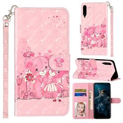 Pink Bear 3D Leather Phone Holster Wallet Case for Huawei Honor Play 3