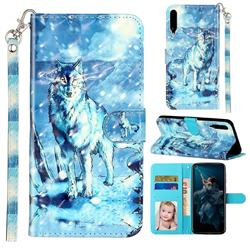 Snow Wolf 3D Leather Phone Holster Wallet Case for Huawei Honor Play 3