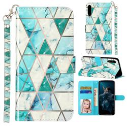 Stitching Marble 3D Leather Phone Holster Wallet Case for Huawei Honor Play 3