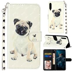 Pug Dog 3D Leather Phone Holster Wallet Case for Huawei Honor Play 3
