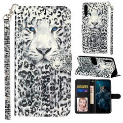 White Leopard 3D Leather Phone Holster Wallet Case for Huawei Honor Play 3