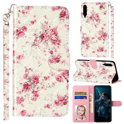 Rambler Rose Flower 3D Leather Phone Holster Wallet Case for Huawei Honor Play 3