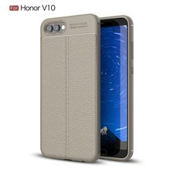 Luxury Auto Focus Litchi Texture Silicone TPU Back Cover for Huawei Honor View 10 (V10) - Gray