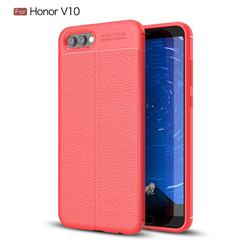 Luxury Auto Focus Litchi Texture Silicone TPU Back Cover for Huawei Honor View 10 (V10) - Red