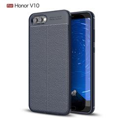Luxury Auto Focus Litchi Texture Silicone TPU Back Cover for Huawei Honor View 10 (V10) - Dark Blue