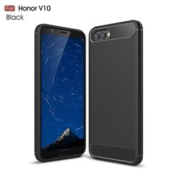 Luxury Carbon Fiber Brushed Wire Drawing Silicone TPU Back Cover for Huawei Honor View 10 (V10) - Black