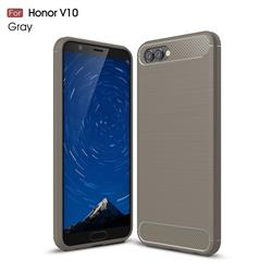 Luxury Carbon Fiber Brushed Wire Drawing Silicone TPU Back Cover for Huawei Honor View 10 (V10) - Gray