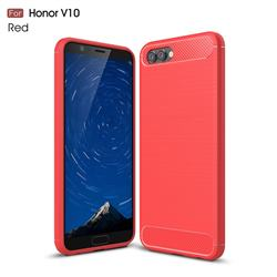 Luxury Carbon Fiber Brushed Wire Drawing Silicone TPU Back Cover for Huawei Honor View 10 (V10) - Red