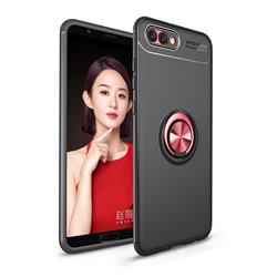 Auto Focus Invisible Ring Holder Soft Phone Case for Huawei Honor View 10 (V10) - Black Red
