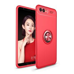 Auto Focus Invisible Ring Holder Soft Phone Case for Huawei Honor View 10 (V10) - Red