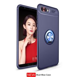 Auto Focus Invisible Ring Holder Soft Phone Case for Huawei Honor View 10 (V10) - Blue