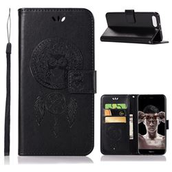 Intricate Embossing Owl Campanula Leather Wallet Case for Huawei Honor View 10 (V10) - Black